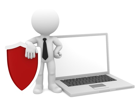 virus informatico: Hombre de negocios con escudo y un ordenador portátil a Internet concepto de seguridad Aislado Foto de archivo