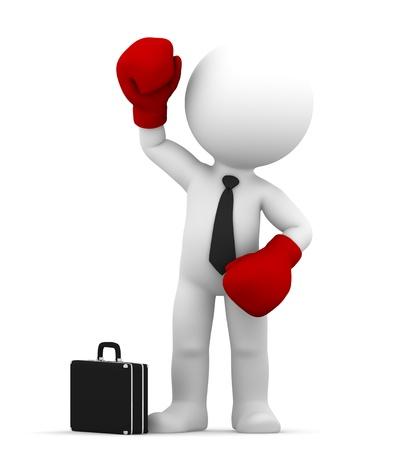 enojo: Hombre de negocios con guantes de boxeo negocio ilustraci�n conceptual Aislado
