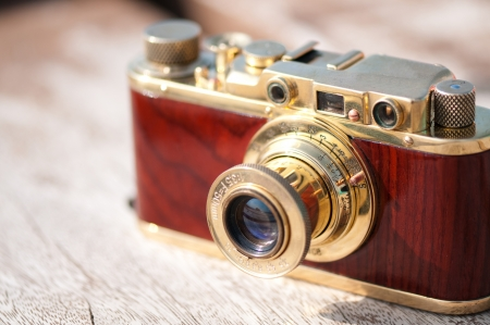 Vintage old film photo camera close up Stock Photo - 15658278