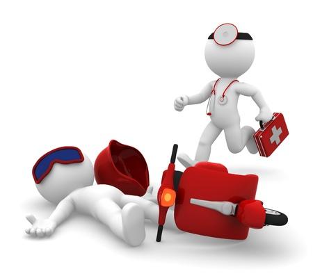 acidente: Serviços Médicos de Emergência paramédico correndo para um homem deitado após acidente de moto Isolado Imagens