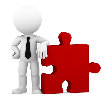 link building: Business standing with piece of puzzle  Conceptual business illustration   Isolated