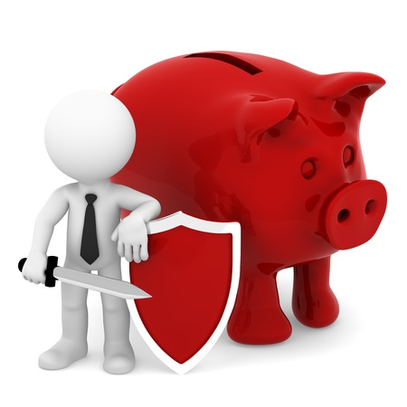 assure: Businessman protecting piggy bank with sword and shield  Conceptual business illustration  Isolated