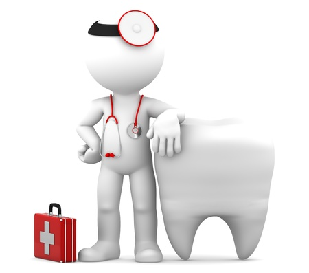 dentist cartoon: Dentist with stethoscope standing in front of big white tooth  Isolated Stock Photo