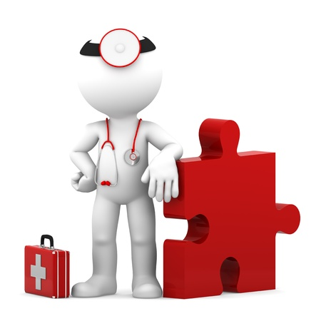 Medic with piece of puzzle  Conceptual medical illustration  Isolated illustration