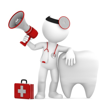 communication tools: Doctor with megaphone in front of big white tooth  Isolated Stock Photo