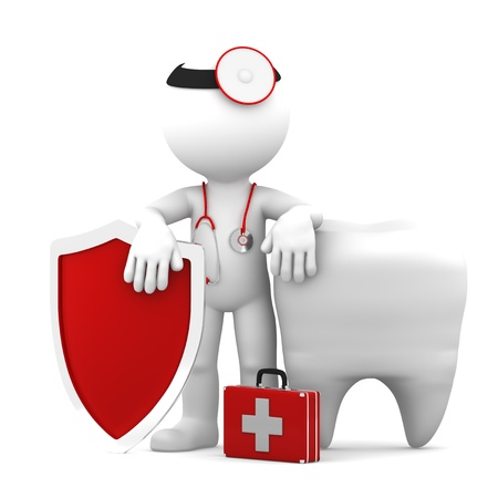 doctor symbol: Doctor with shield in front of big white tooth  Isolated
