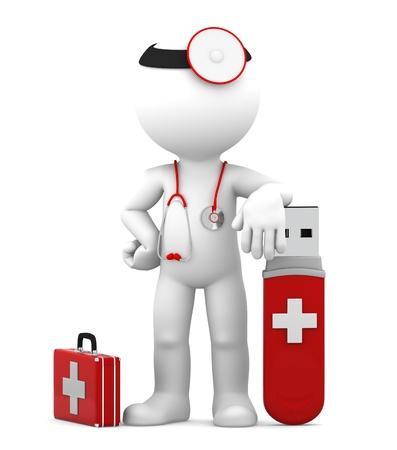 virus informatico: Doctor con USB Flash Drive aislado Foto de archivo
