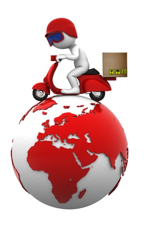 courier: Courier on scooter on top of the globe  Isolated
