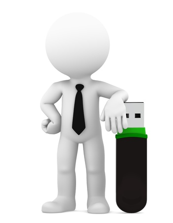 usb: Businessman standing with big usb flash drive  Isolated Stock Photo