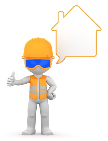 Worker with speech bubble  Isolated photo