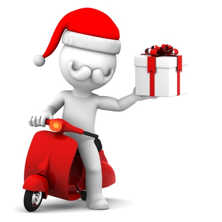 Santa Claus on scooter holding gift box Standard-Bild