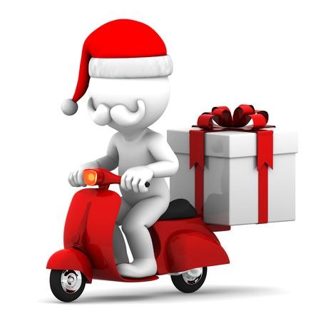 weihnachtsmann lustig: Santa Claus liefern Weihnachtsgeschenke auf einem Roller Lizenzfreie Bilder