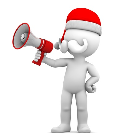 Santa Claus  with loud hailer megaphone isolated on a white background photo