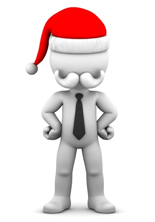 3d Businessman wearing tie and Santa Claus hat. Isolated on the white background photo
