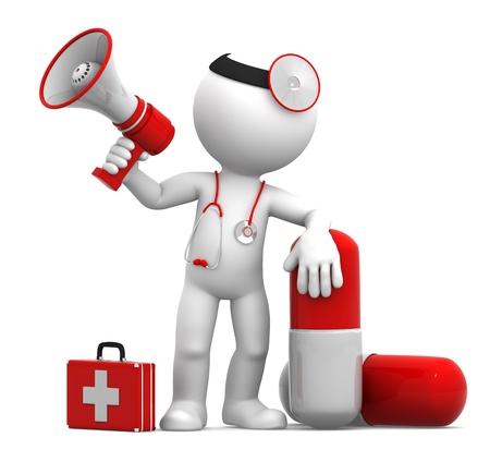 약물 치료: 알약과 확성기와 의료진. 흰색 배경에 고립