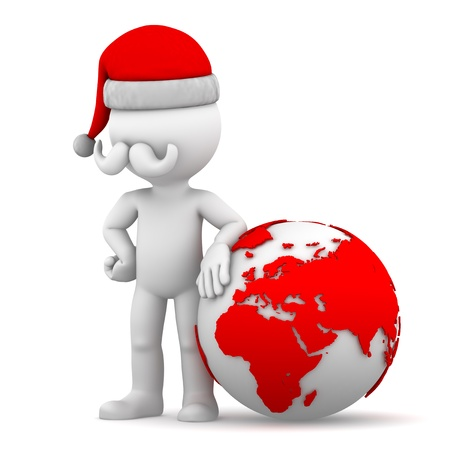 Santa with earth globe. Isolated on white background photo