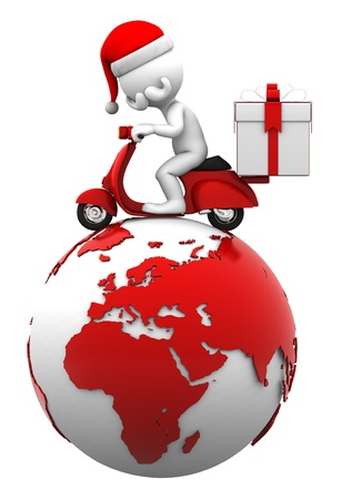Santa driving scooter on top of the earth. Present delivery concept. Isolated on white photo