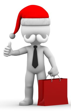 Santa Claus with shopping bag. Isolated on white background photo