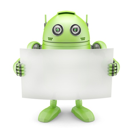 Android with blank banner. Isolated on white background