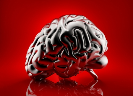 shiny metal background: Metallic human brain rendered over red background
