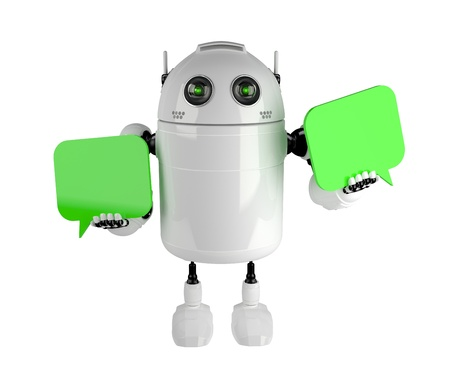 robot cartoon: Android with two chat bubbles . Isolated on white