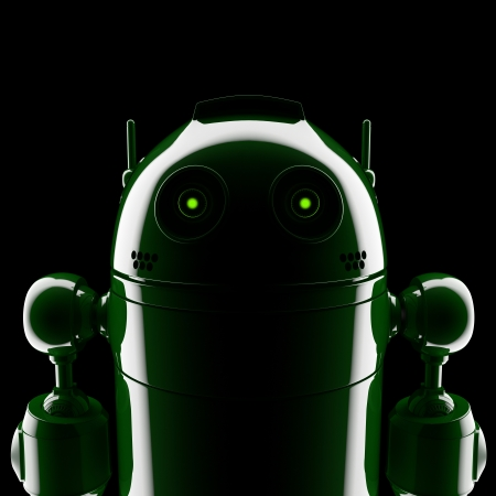 Android silhouette. On black background Standard-Bild