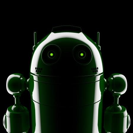 Android silueta. Sobre fondo negro