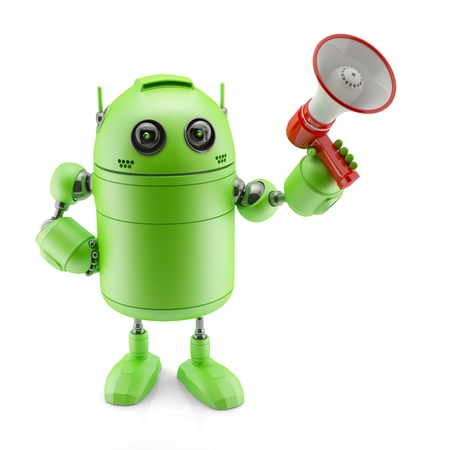 talking robot: Android with a megaphone