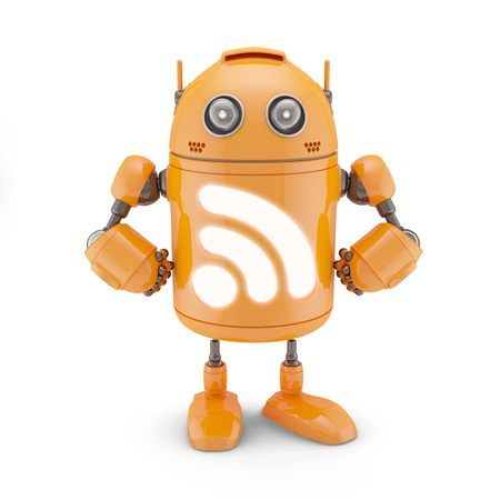 rss feed: RSS icon robot. Isolated on white background