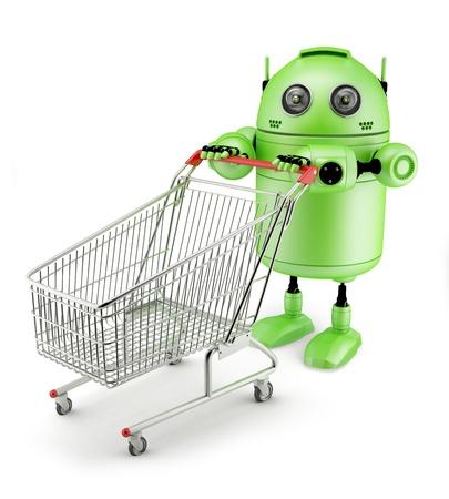 Androidwith carrito de compras. Aislado sobre fondo blanco Foto de archivo
