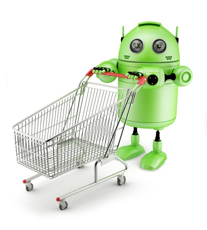 android: Androidwith shopping cart. Isolated on white background