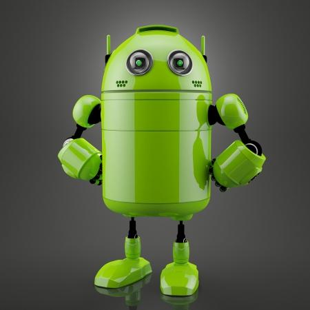 Staande android. Gesmolten over zwarte achtergrond