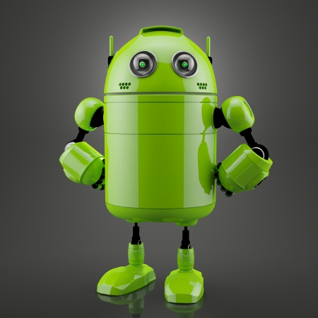 Standing android. Rendered over black background photo