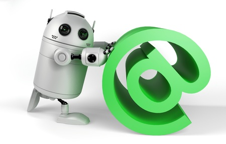 spamming: Robot With Email Sign. Render on white background