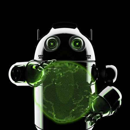 Android holding a glowing earth globe. Rendered on black background Stock Photo - 17855008