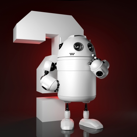 Funny white android stay with big question mark Stock Photo - 17855006