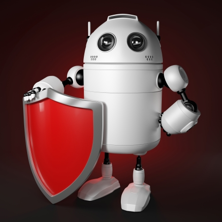 protection concept: Abstract robot with shield. Data protection concept.