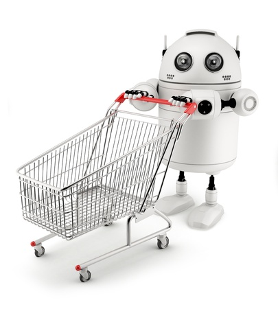 Robot with shopping cart. Isolated on white background photo