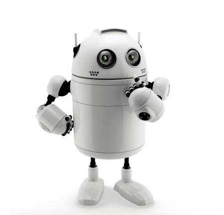 robot: Robot de pie en el pensamiento plantean. Aislado en un blanco Foto de archivo