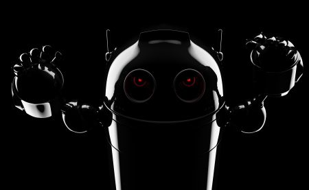 Evil angry robot . Render on blackbackground photo