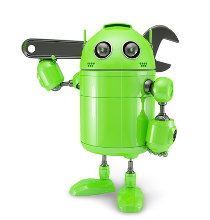 Android mit dem Schraubenschlüssel. Reparatur-Konzept. Isoliert auf weißem