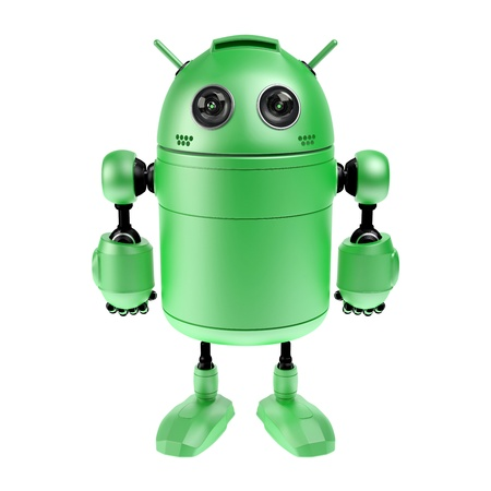 Cute green robot  Isolated on white background Standard-Bild