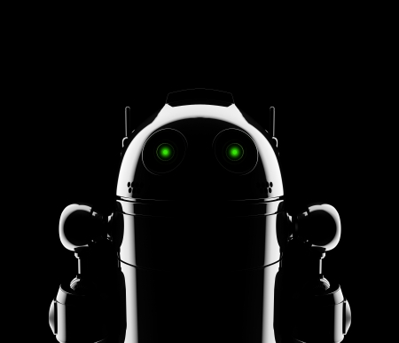 Abstract Robot Silhouette  Still life render over black background Stock Photo - 17855024