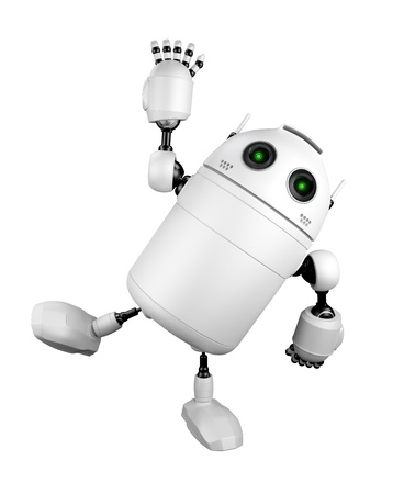 Cute Robot greeting and saying Hi  Isolated on white background Stock Photo