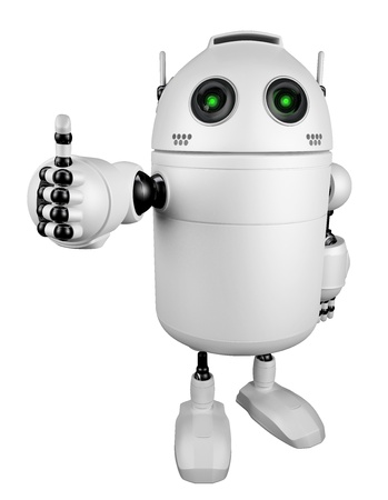 Robot giving thumbs up   Isolated on white