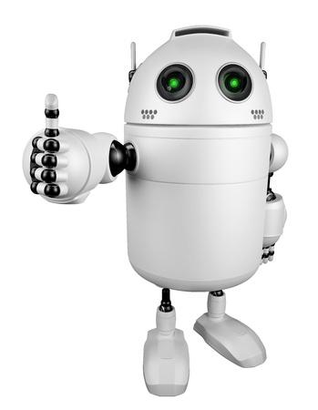 Robot geben Daumen nach oben isoliert auf weiß