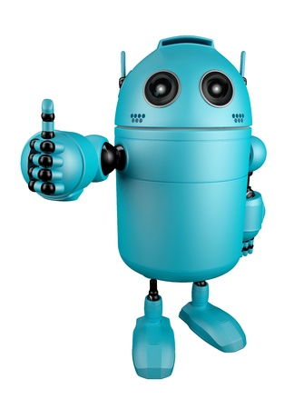 Blue Robot giving thumbs up   Isolated over white backgroun