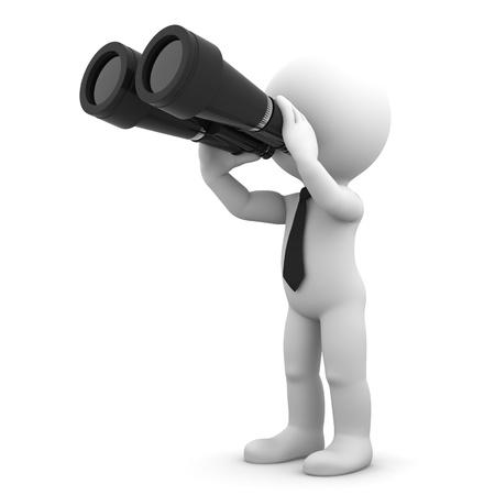 Businessman looking through binoculars  Search concept  Stock Photo