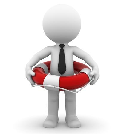 Geschäftsmann mit Rettungsring isoliert auf weiß