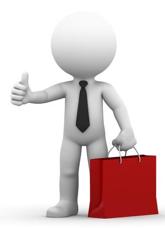 Ein glücklicher Geschäftsmann hält Einkaufstasche und geben Daumen nach oben auf weißem Hintergrund